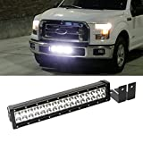 iJDMTOY Complete High Power LED Light Bar w/ Lower Bumper Insert Area Mounting Brackets and Wiring Switch For 2015-up Ford F-150 XLT, Lariat or Limited