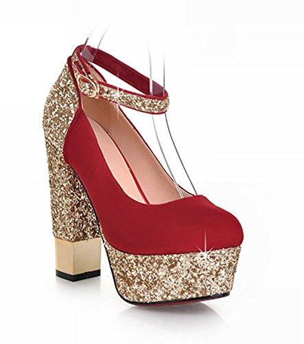Aisun Femmes Élégant Bling Sequins Plate-forme Talons Hauts Robe Pompes Chaussures Rouge