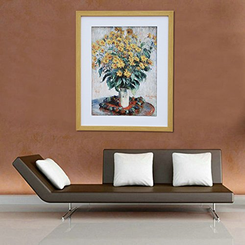 Abstract Flowers Monet Sunflowers, Claude Monet Art Reproduction. Giclee Canvas Prints Wall Art for Home Decor 20x16