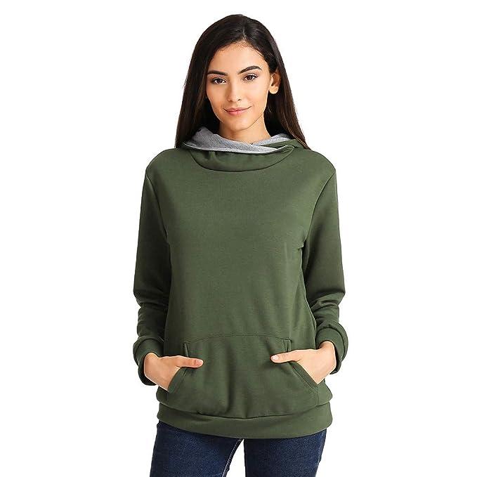 55cc1fd9aa0 FEITONG Women s Cowl Neck Casual Long Sleeve Hoodie Pullover Sweatshirt  Kangaroo Pocket(Small