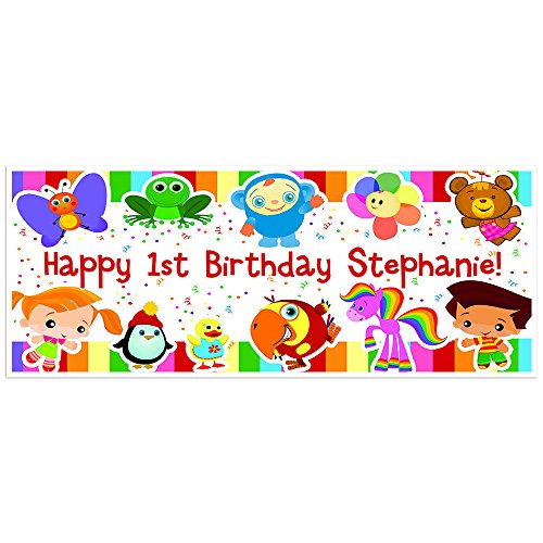Baby First Birthday Banner Personalized Party Backdrop Decoration 60x24