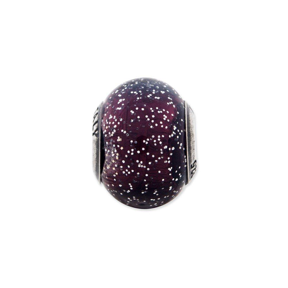 10mm x 12.7mm Jewel Tie 925 Sterling Silver Reflections Italian Dark Purple with Silver Glitter Glass Bead