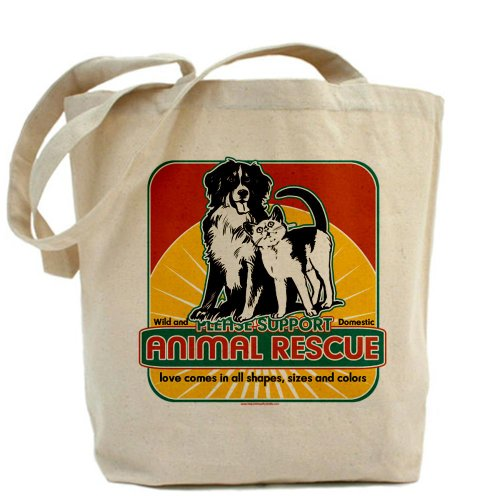 Cafepress – Animal Rescue – Borsa di tela naturale per cani e gatti, panno shopping bag