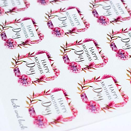 Luck Happy Mothers Day Pink Blossom Single Sticker Sheet with 35 Stickers