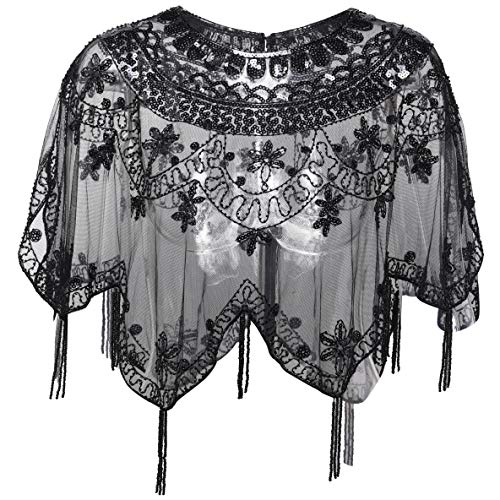 BABEYOND Sequin Beaded Evening Cape 1920s Fringed Shawl Wraps Wedding Bridal Shawl Scarf (Black)