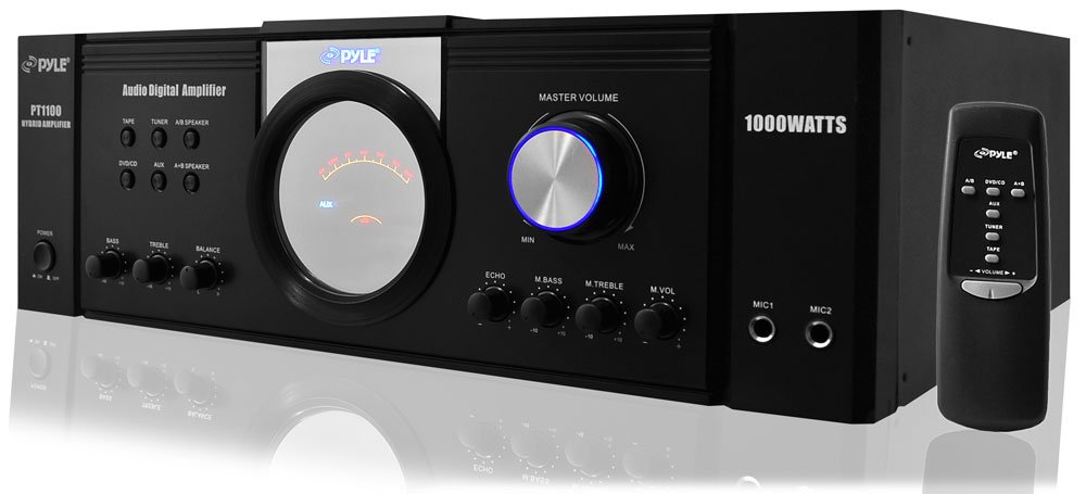 Pyle 1000 Watt Premium Home Audio Power Amplifier - Home Theater 4 Channel Stereo Receiver w/ Speaker Selector & Remote - for Amplified TV, Subwoofer Speakers, PA System - PT1100 by Pyle