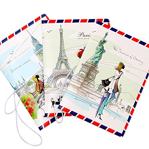 Coolrunner 3pcs Fashion Miss Love to Travel Passport Covers 3D Stereo Design Faux Leather ID Card Holders Stamp Envelope Passport Cases