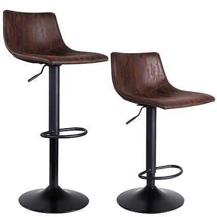 Amazon Com Superjare Set Of 2 Bar Stools Swivel Barstool Chairs