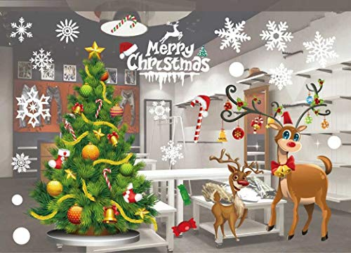Mural Christmas - JCT Christmas Window Stickers Decorations Clings Decal Colorful Santa Removable Films Large Wall Door Mural Sticker for Marry Christmas Showcase Holidays Xmas Decoration 55 X 38cm /21.6 X 15''(801)