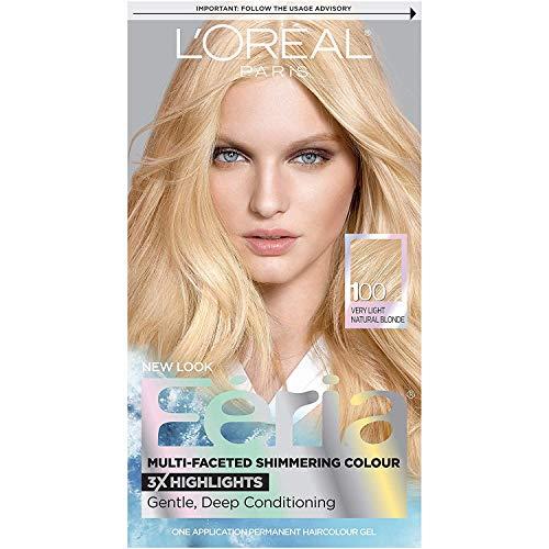 L'Oreal Paris Feria Multi-Faceted Shimmering Permanent Hair Color, 100 Pure Diamond (Very Light Natural Blonde), 1 kit Hair Dye