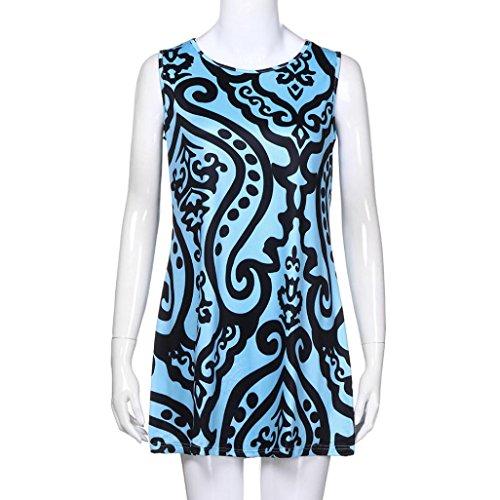 noche vestido elegante impresa falda vintage informal fiesta vestido verano suelta mangas mini Adeshop 8 elegante de redondo azul trapecio boho cuello sin Zxz0WUn7