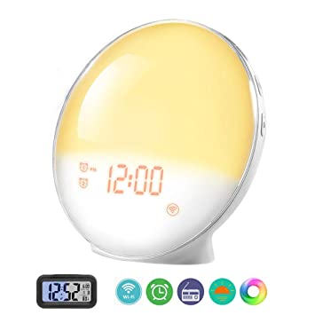 Prismtec Sunrise Alarm Clock, Smart Wake Up Light APP Controllable, 4 Alarms FM Radio Clock, Natural Sounds, 7 Colors, Sleep Aid, Night Light