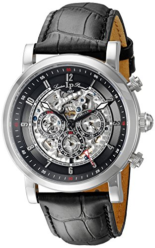 Lucien Piccard Men's LP-40010A-01 Sultan Stainless Steel Watch with Black Leather Band