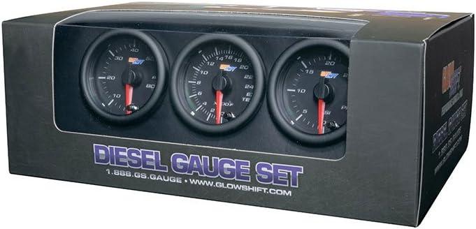 30 Fuel Pressure Pyrometer EGT Black 7 Color Diesel Gauge Set Boost