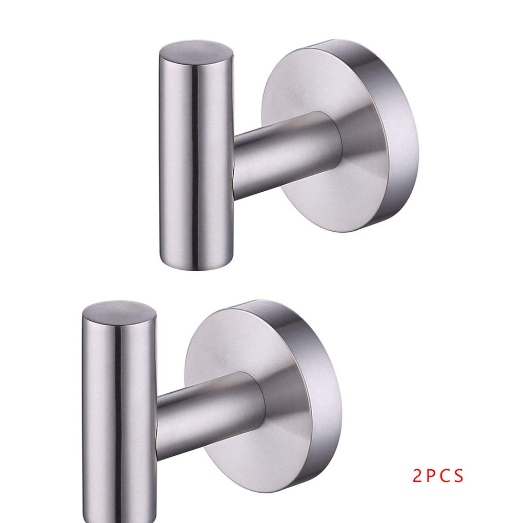 Cocoray 2Pcs/Set Stainless Steel Coat Hook Single Towel Robe Clothes Hook Hanger for Bath Kitchen Garage Drilling Version