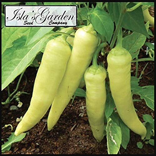 Banana Pepper Seeds, 100+ Premium Heirloom Seeds, Sweet Banana Peppers, ON Sale!, (Isla's Garden Seeds), Non GMO Organic, 85% Germination, UPC 0667744998491, Highest Quality! - Sweet Pepper