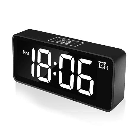 CHEREEKI Reloj Despertador Digital, Relojes de Pantalla LED de 4.6