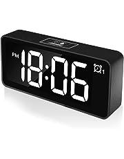 """Réveil Numérique CHEREEKI, Horloges à Del de 4,6""""avec Port de Charge USB, Réveil réveil 12 / 24h, luminosité réglable,25 musiques, Batterie de Secours pour la Chambre(Noir"""