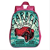 Man Cave Decor Backpack Bookbag,Garage Auto Repair Service Advertisement Classic Cars Authentic Tradition Decorative for Kindergarten Child,9.4''Lx4.7''Wx11.8''H
