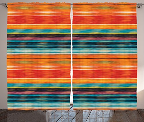 Furniture Mexican Bedroom (Ambesonne Mexican Decorations Curtains, Vibrant Vintage Aztec Motif with Gradient Blurred Lines Ecuador Crafts Image, Living Room Bedroom Window Drapes 2 Panel Set, 108W X 90L Inches, Multi)