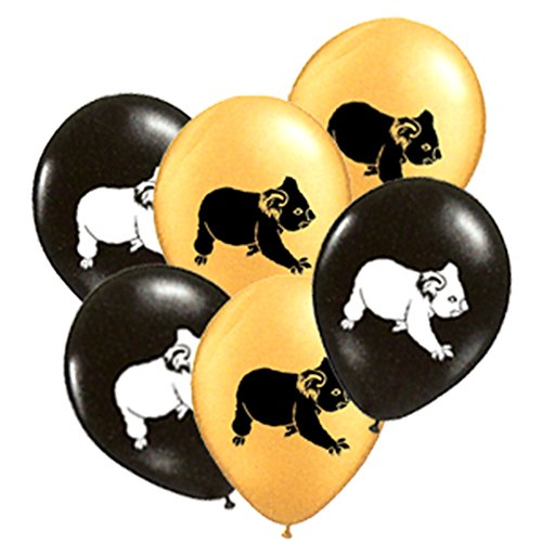 Aussie Balloons Black and Gold Pack 12 per - And Black Gold Australia