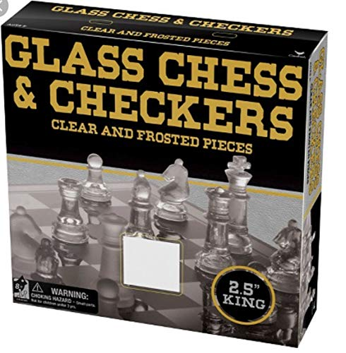 Cardinal 10097 Classic Glass Chess Checkers Game Strategy Board Fun, Black -