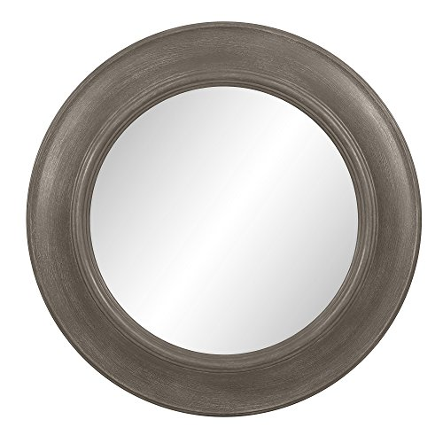 Patton Wall Decor 24 Inch Rustic Round Distressed Taupe Mirror, Beige For Sale