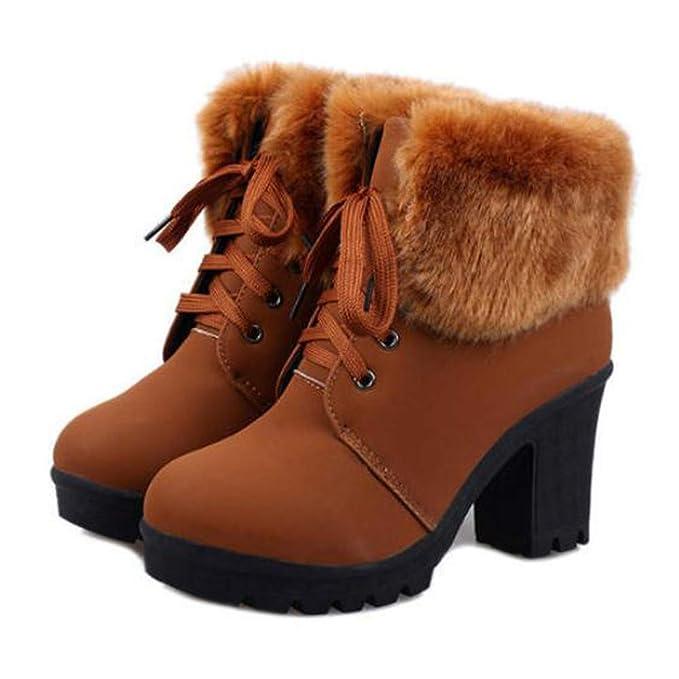 Mujer Botas de Nieve Calientes Invierno Botines cómodos Botas ...