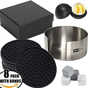 Enkore Premium Bar Accessories - Large Coasters For Drinks 8 Pack, Stainless Steel Holder, Bonus Ice Ball Mold & 4 Whiskey Sipping Stones Set In Gift Box - Chilling Vodka With Max Furniture Protection
