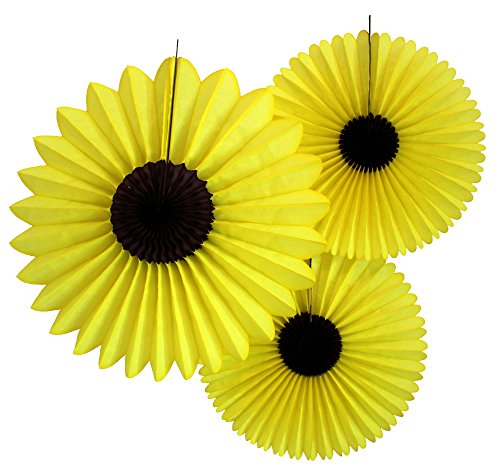3-Piece Sunflower Tissue Paper Party Fan Set (One 18 Inch, Two 13 Inch)