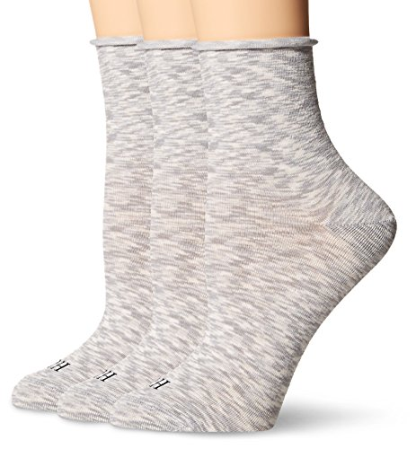 (HUE Women's Roll Top Shortie Sock (Pack of 3), chrome space dye, One Size)