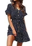 Yidarton Women's Summer Casual Chiffon Button Short Sleeve Tie Waist Polka Dot Solid Color Beach Mini Shirt Dress (Dot-Navy, Large)