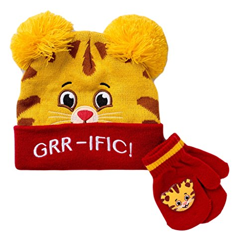 Daniel Tigers Neighborhood Beanie Hat Mittens for Toddler Boys Cold Weather Winter Knit Hat