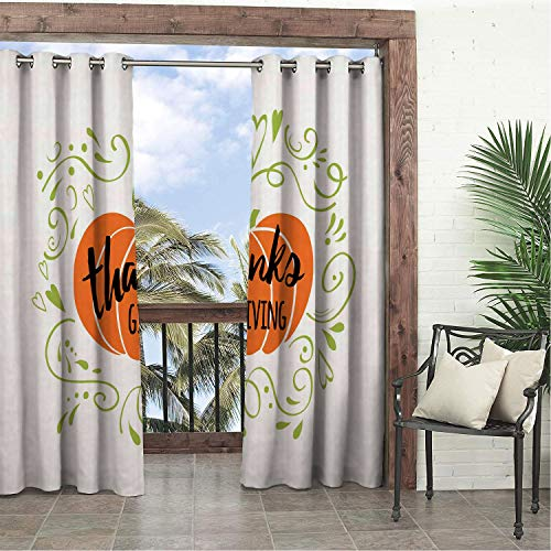 - Linhomedecor Garden Waterproof Curtains Thanksgiving Curlicue and Heart Shape Ornamental Pumpkin Print Burnt Orange Apple Green Charcoal Grey pergola Grommets Backdrop Curtains 120 by 108 inch
