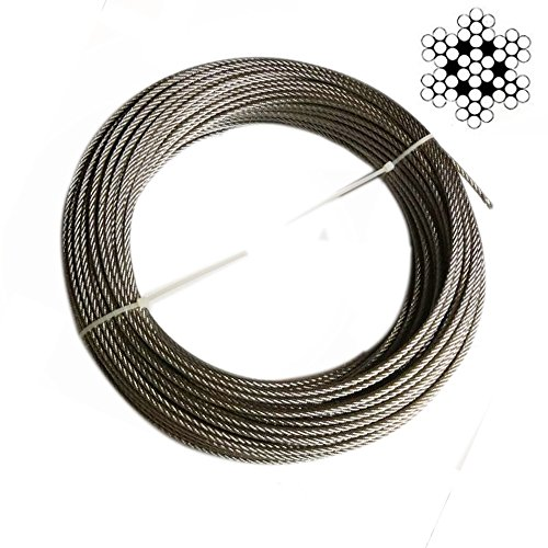 Hetai Wire Rope Stainless Steel Cable Galvanized Steel Cable Stainless Aircraft Steel Wire Rope Cable For Railing,Decking, DIY Balustrade, 1/8Inch,7x7,164Feet by Hetai (Image #5)