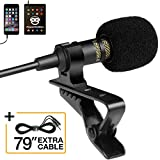 Professional Grade Lavalier Lapel Microphone ­ Omnidirectional Mic with Easy Clip On System ­ Perfect for Recording Youtube / Interview / Video Conference / Podcast / Voice Dictation / iPhone/ASMR