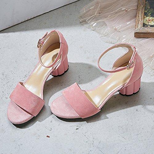 AJUNR Moda/elegante/Transpirable/Sandalias simple cabeza redonda tacon alto zapatos de mujer hebillas rosa 6 cm de tacon alto Treinta y cuatro 37