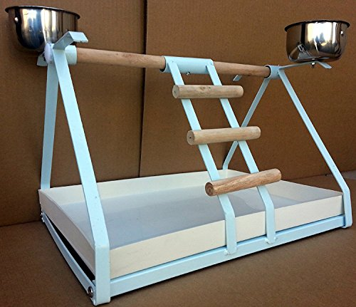 BIRD SMALL PARROT METAL PLAYSTAND Play Gym With Stainless Steel Cups, Wood Perches and Tray