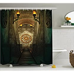 Gothic Shower Curtain by Ambesonne, Medieval Passage with Torch and Golden Clock on Wall Mystery in Temple Print, Fabric Bathroom Decor Set with Hooks, 70 Inches, Beige Emerald