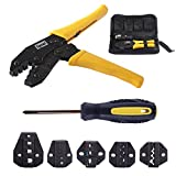Toprema Crimping Tool Kit Ratchet Terminal Connector Plier Crimper 5 Interchangeable Die Sets Insulated Non-insulated Cable Wire Hand Tool with Carry Bag