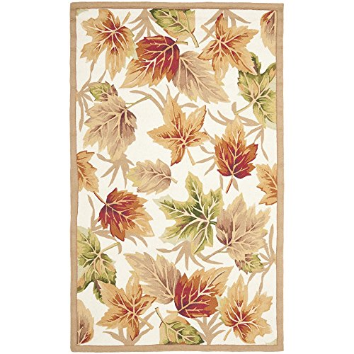Safavieh Chelsea Collection HK218A Hand-Hooked Ivory Premium Wool Area Rug (5'3