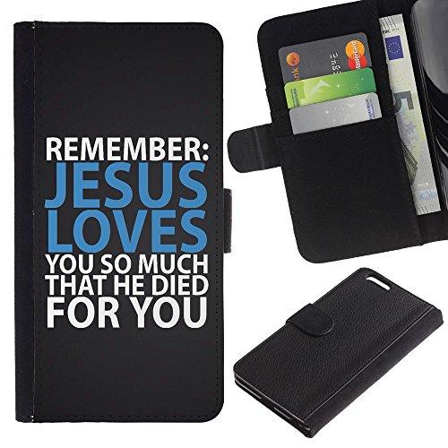 Billetera de Cuero Caso Titular de la tarjeta Carcasa Funda para Apple Iphone 6 PLUS 5.5 / BIBLE Jesus Loves You So Much That He Died For You / STRONG