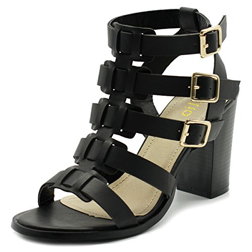 Ollio Womens Shoe Gladiator Ankle High Bootie Sandal FT08 (10 B(M) US, Black)