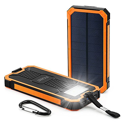 Solar Power Bank, FKANT 15000mAh Portable Dual USB Solar Cell Phone Charger External Battery Pack with 6LED Flashlight for iPhone iPad Samsung and More