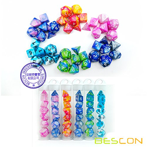 Bescon Mini Gemini Two Tone Polyhedral RPG Dice Set 10MM, Mini RPG Dice Set D4-D20 in Tube Packaging, Assorted Colored of 42pcs (7X6