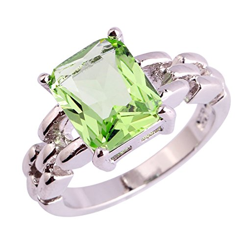 Veunora 925 Sterling Silver Princess Cut Green Amethyst Filled Engagement Ring for Women Size 6
