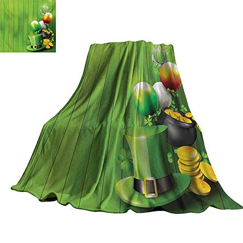 RenteriaDecor St. Patricks Day,Fashion Warm All Season Blanket Wood Design with Shamrock Lucky Clovers Pot of Gold Coins and Horse Shoe Throw Rug Sofa Bedding 50