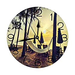 GULTMEE Silent Wall Clock Non Ticking 10 inch Quartz Round Decorative, Photo of Empty Hammock on The Beach at Sunrise Time with Coconut Palm Tree Exotic Print