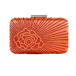 Women's Satin Silk Hard Case Crystal Clutch