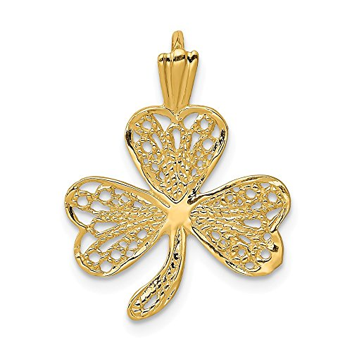 14k Yellow Gold Filigree Shamrock Pendant Charm Necklace Celtic Claddagh Fine Jewelry Gifts For Women For Her